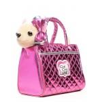 Собачка Chi-Chi love Чихуахуа плюшевая Гламур с розовой сумочкой и бантом
