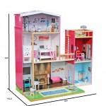 Деревянный кукольный домик Элен с лифтом и бассейном