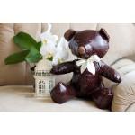 Интерьерная игрушка Мишка из натуральной кожи, 37 см